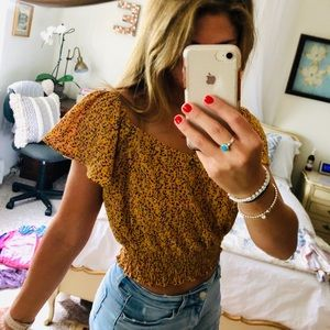Off The Shoulder Yellow Floral Top